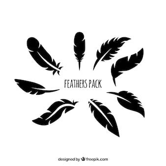 Siluetas plumas paquete