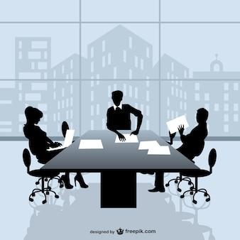 Siluetas de reunión de negocios y ventana