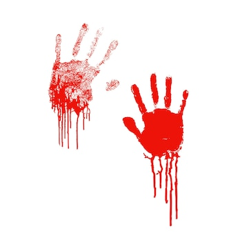 Siluetas sangrientas de huellas de palmas humanas con manchas de sangre aisladas en blanco