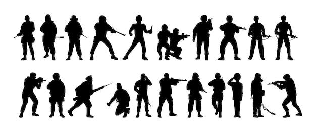 Siluetas de soldados tropas de militares armados con fines especiales el soldado está en guardia