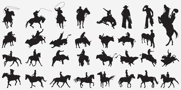 Siluetas de vaquero