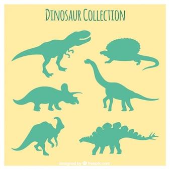 Siluetas verdes de dinosaurios