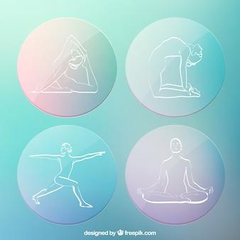 Siluetas de yoga esbozados