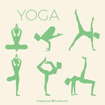 Siluetas de yoga paquete