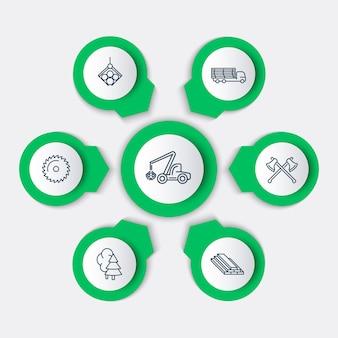 Silvicultura, madera, cosechadora de árboles, elementos infográficos de aserradero, iconos de línea