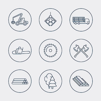 Silvicultura, madera, cosechadora de árboles, iconos de línea de aserradero