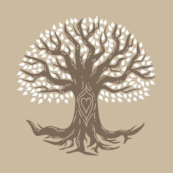 Simbolismo de la vida del árbol dibujado a mano