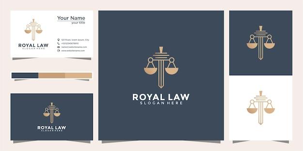 Símbolo abogado abogado defensor plantilla estilo lineal. escudo espada ley bufete de abogados seguridad empresa logotipo y tarjeta de visita