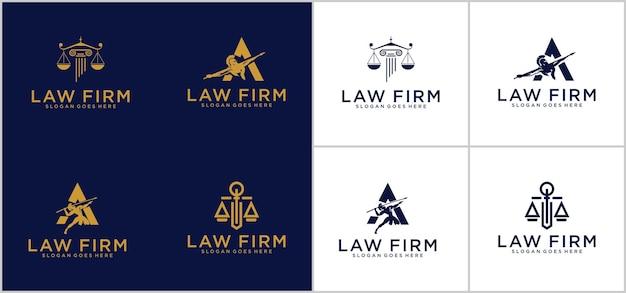 Símbolo abogado abogado defensor plantilla estilo lineal. escudo espada ley bufete legal seguridad empresa logotipo