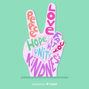 Símbolo adorable de dedos de la paz con estilo colorido