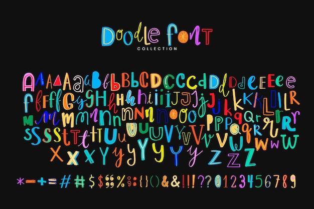 Símbolo del alfabeto doodle estilo de fuente colorido conjunto