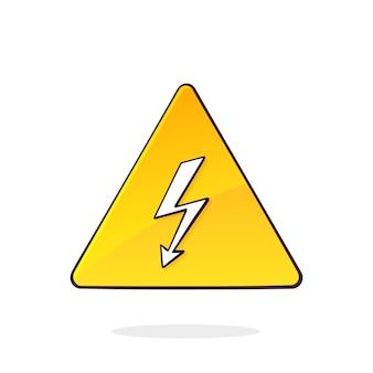 Símbolo amarillo de alto voltaje con ilustración de vector de señal de advertencia de peligro de relámpago eléctrico