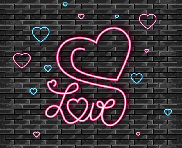 Símbolo de amor en luz de neón