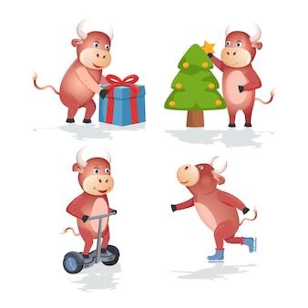 Símbolo del año nuevo chino 2021 de toros de color, calendario familiar de vacas y búfalos o tarjetas, conjunto de dibujos animados.