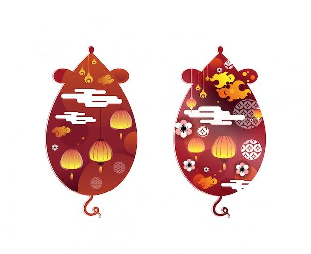 Símbolo del año nuevo chino. rata zodiaco y textura de flor abstracta en forma de ratón.