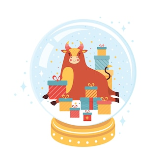 El símbolo del año nuevo es un toro en una bola de cristal navideña.
