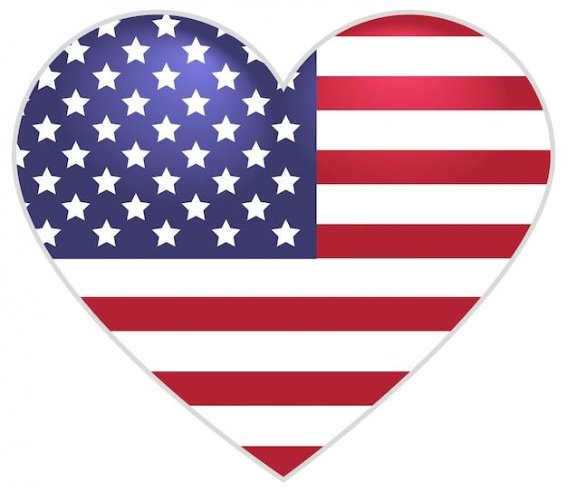 Símbolo de la bandera de estados unidos en forma de corazón