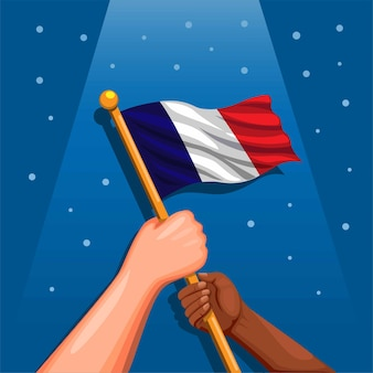 Símbolo de la bandera nacional de francia en la mano para la celebración del día de la independencia el 14 de julio concepto en cartoon illu