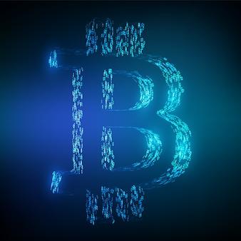 Símbolo bitcoin btc formado por código binario. concepto de cadena de bloque.