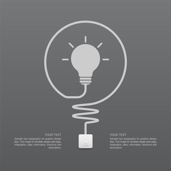 Símbolo de bombilla e interruptor de luz