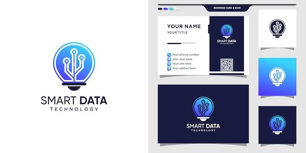 Símbolo de bombilla para tecnología de datos. icono de logotipo y diseño de tarjeta de visita