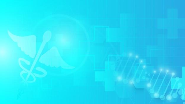 Símbolo del caduceo y abstracto geométrico sobre fondo azul
