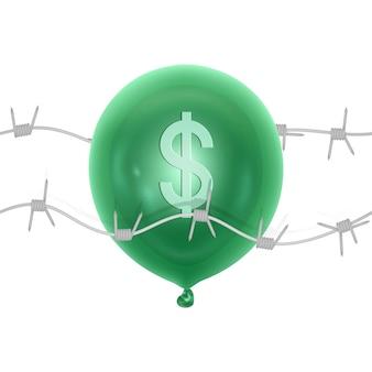 Símbolo de la caída del dólar pinchando o reventando un globo de dólar con una aguja