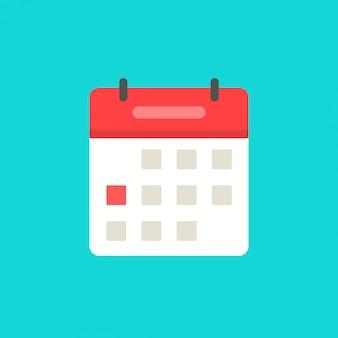 Símbolo de calendario o agenda icono de dibujos animados plana aislado