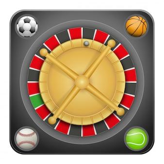Símbolo de casino de ruleta para apuestas deportivas con bolas.