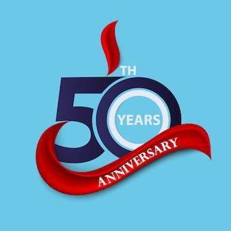 Símbolo de celebración de signo y logo de 50 aniversario con cinta roja