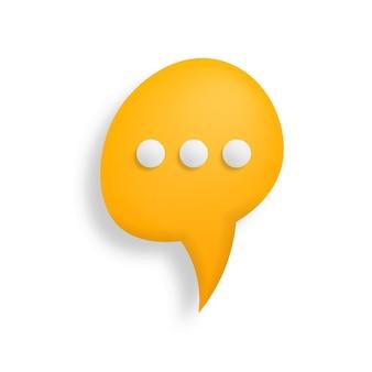 Símbolo de chat pictograma de estilo 3d para diseño web ui aplicación móvil infografía