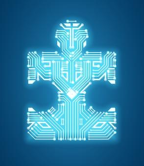 Símbolo de circuito de rompecabezas digital de aprendizaje automático