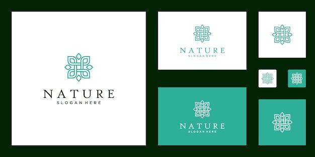 Símbolo para clases de yoga, productos alimenticios naturales y orgánicos y conjunto de logotipos de envases