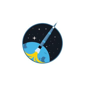 Símbolo de cohete en tecnología de innovación de nave de lanzamiento de cohete espacial beige