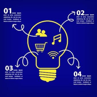 Símbolo de concepto de bombilla de negocios de infografía con iconos