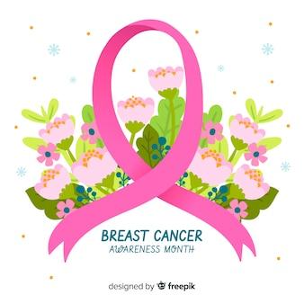 Símbolo de conciencia de cáncer de mama con flores en el fondo