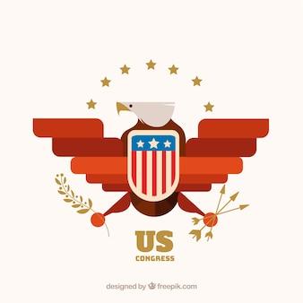 Símbolo del congreso de estados unidos con diseño plano