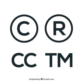 Símbolo de copyright en estilo plano