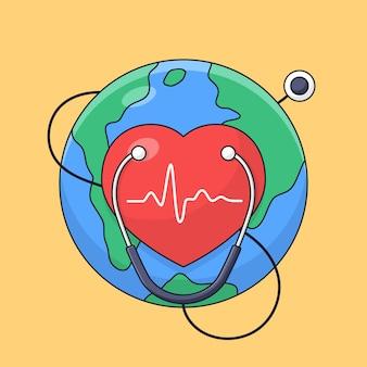 Símbolo del corazón con fondo de tierra y estetoscopio para el estilo de dibujos animados de contorno de celebración de cartel del día mundial del corazón