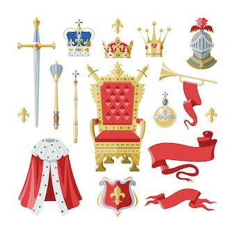 Símbolo de la corona real de oro del rey reina y la princesa ilustración signo de la corona del príncipe autoridad conjunto de caballero casco y trono sobre fondo blanco.