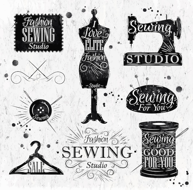 Símbolo de costura en maniquí retro vintage letras, bobina, alfileres, perchas, botones