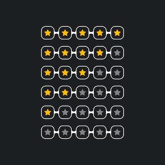 Símbolo creativo de clasificación de estrellas para el tema negro