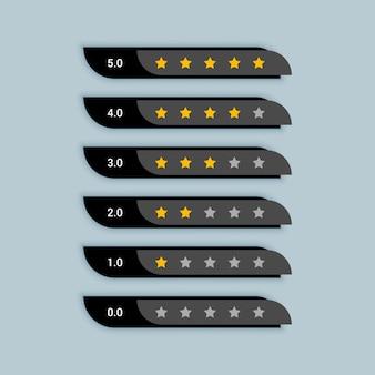 Símbolo creativo de clasificación por estrellas para el tema negro