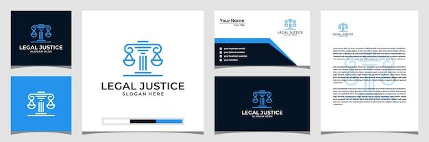 Símbolo creativo de la tarjeta de bufete de abogados de justicia legal.