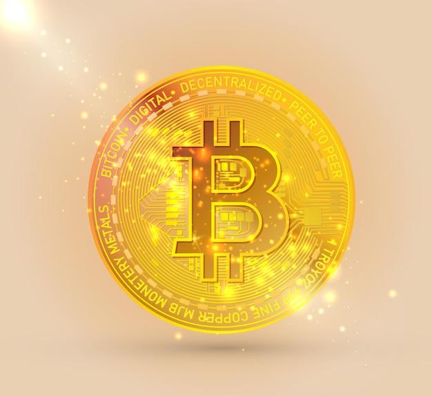 Símbolo de criptomoneda bitcoin oro aislado