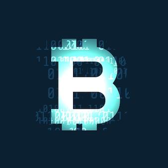 Símbolo de criptomoneda bitcoin que brilla intensamente en fondo oscuro