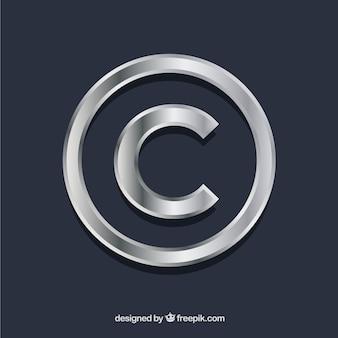 Símbolo de copyright en color plateado