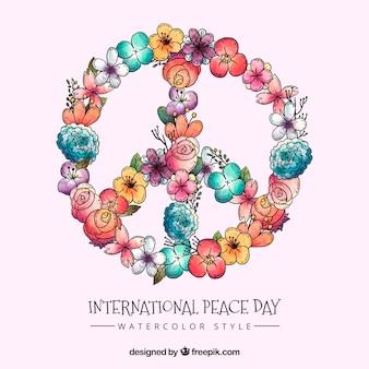 Símbolo de la paz floral en acuarela