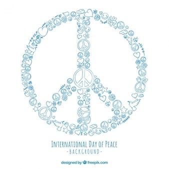Símbolo de la paz hecho con dibujos