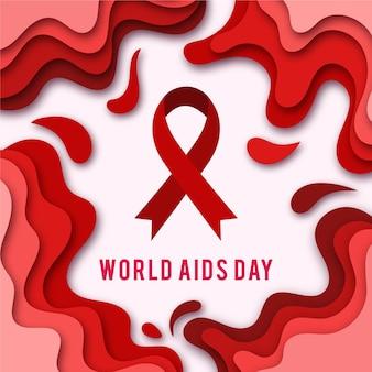 Símbolo del día mundial del sida en estilo papel